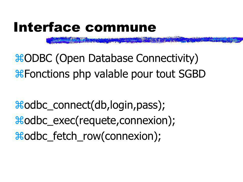 Interface commune ODBC (Open Database Connectivity)