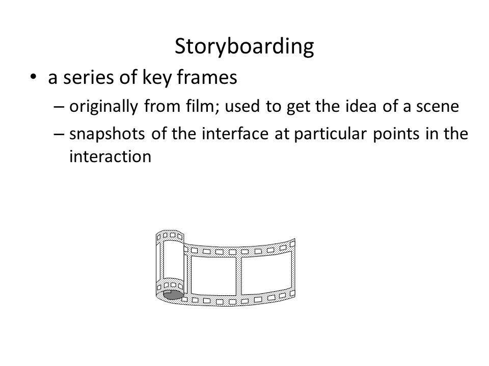 Storyboarding a series of key frames