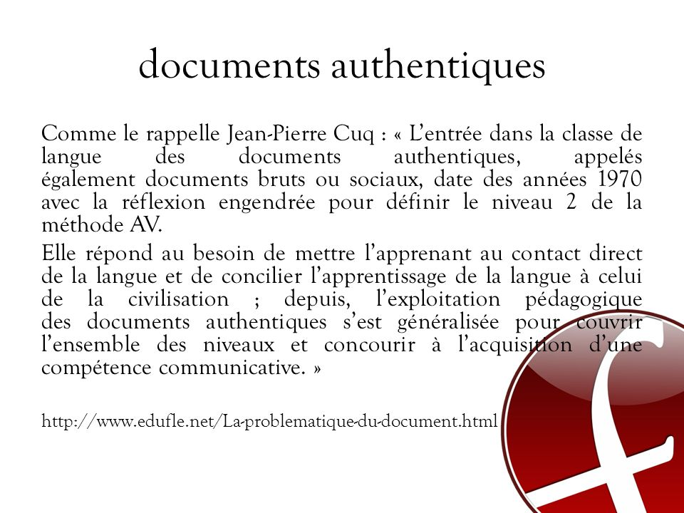 documents authentiques