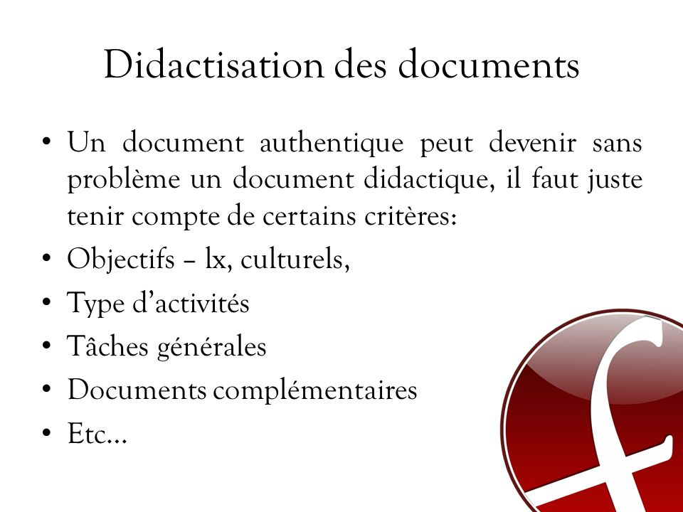Didactisation des documents