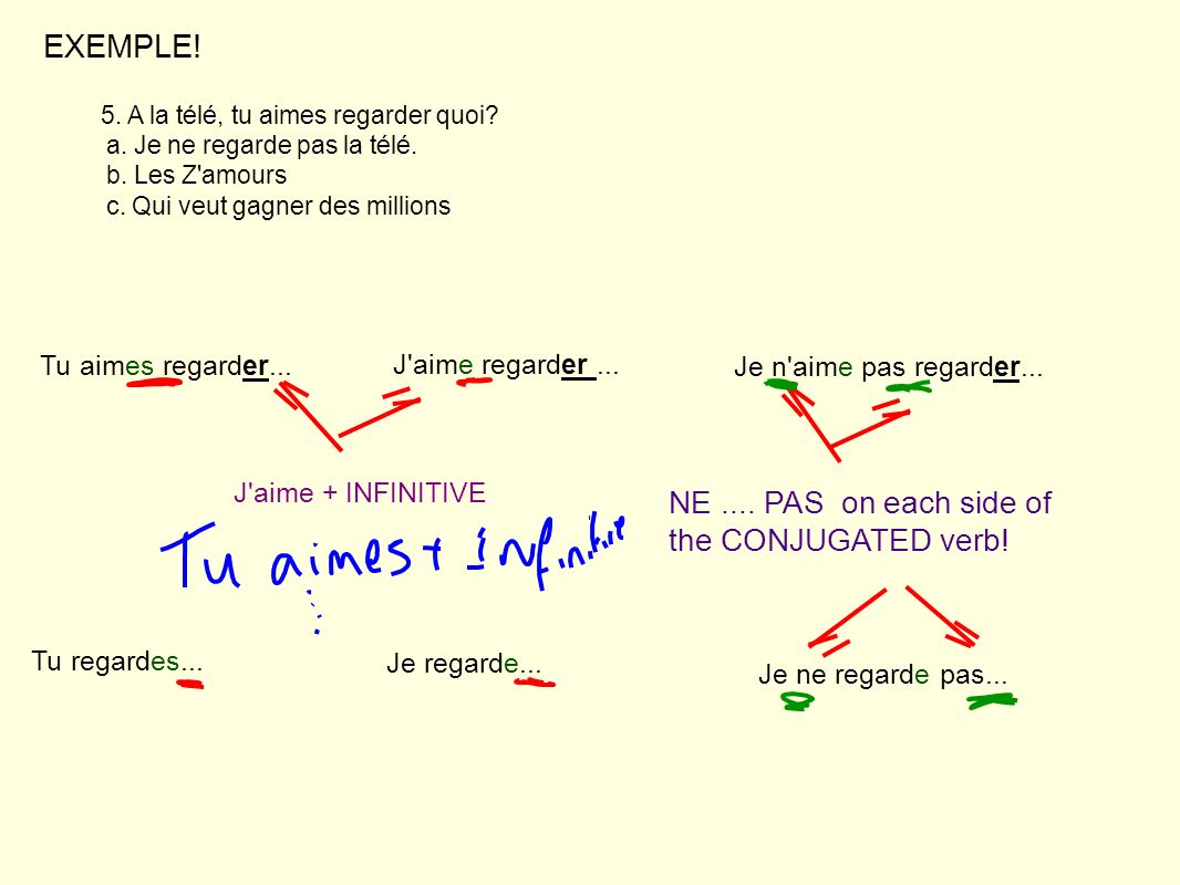 EXEMPLE! NE .... PAS on each side of the CONJUGATED verb!
