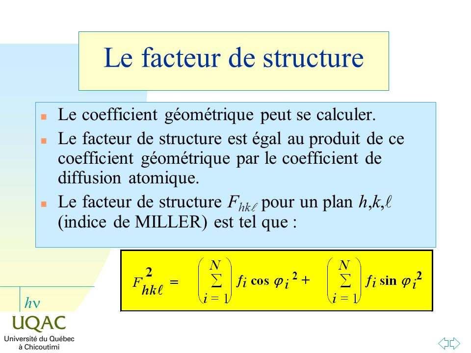 Le facteur de structure