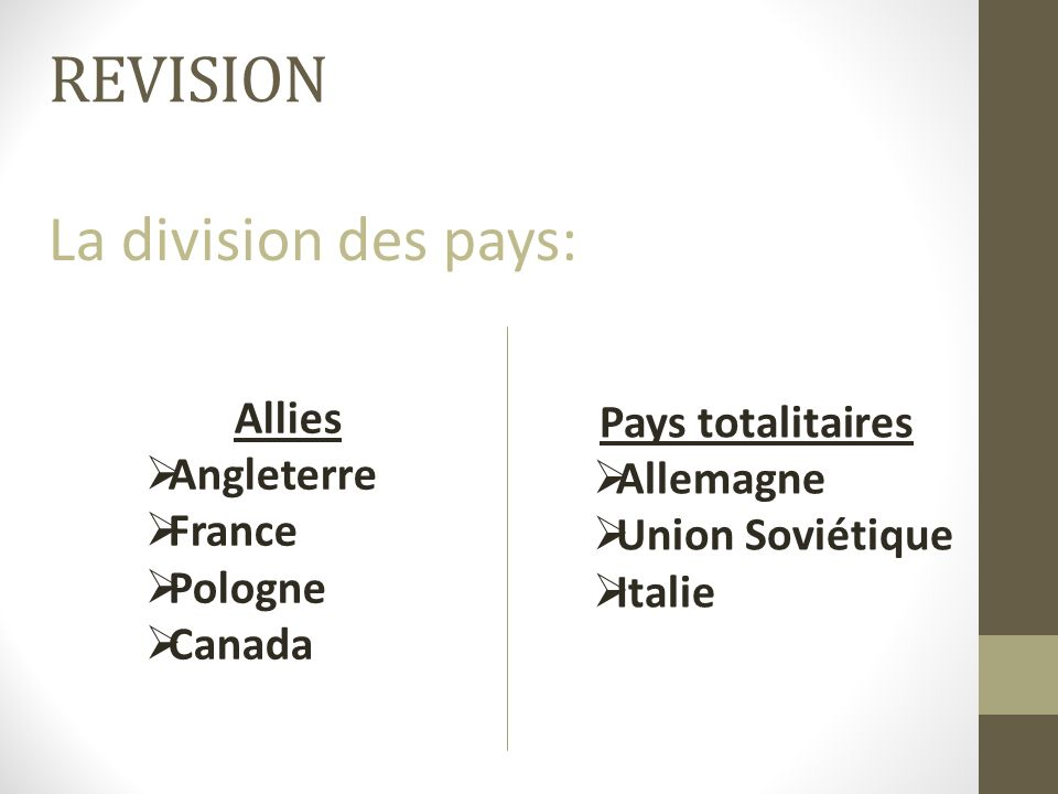 REVISION La division des pays: Allies Pays totalitaires Angleterre