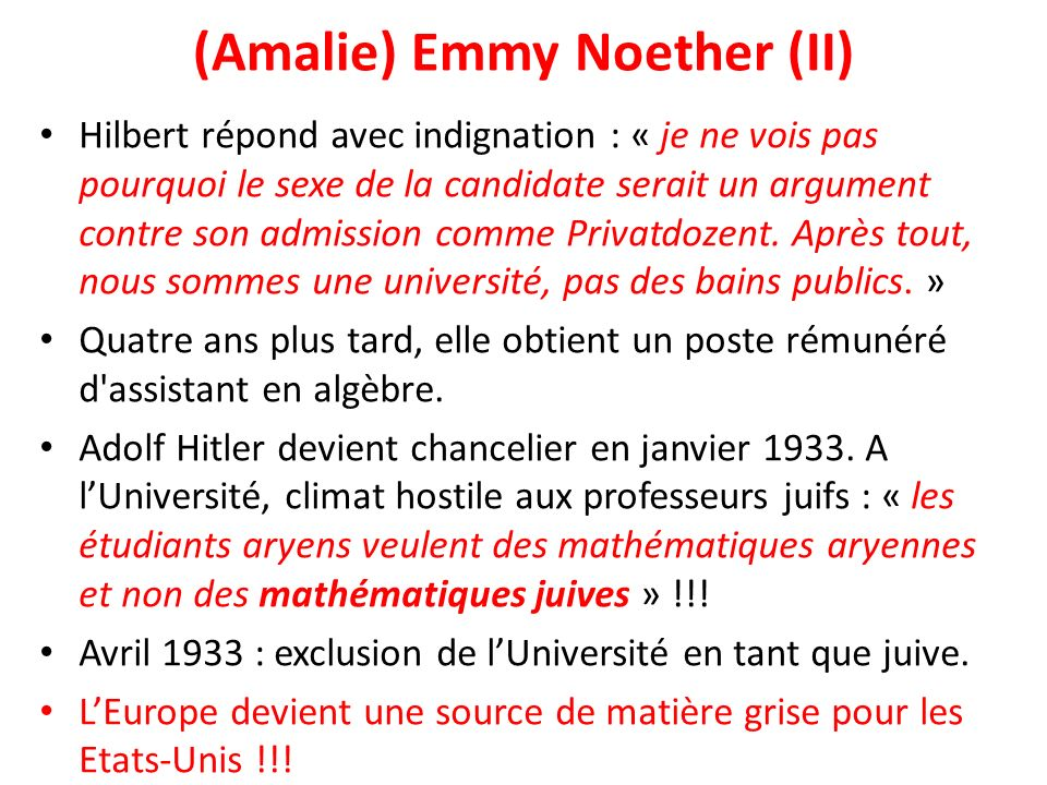 (Amalie) Emmy Noether (II)