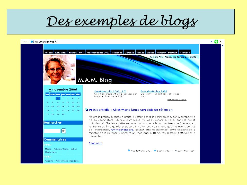 Des exemples de blogs