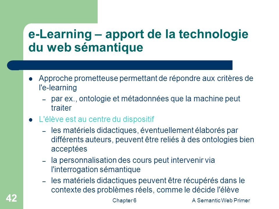 e-Learning – apport de la technologie du web sémantique