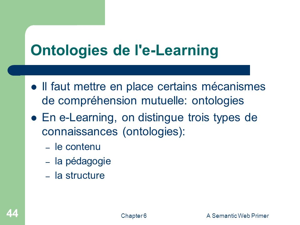 Ontologies de l e-Learning
