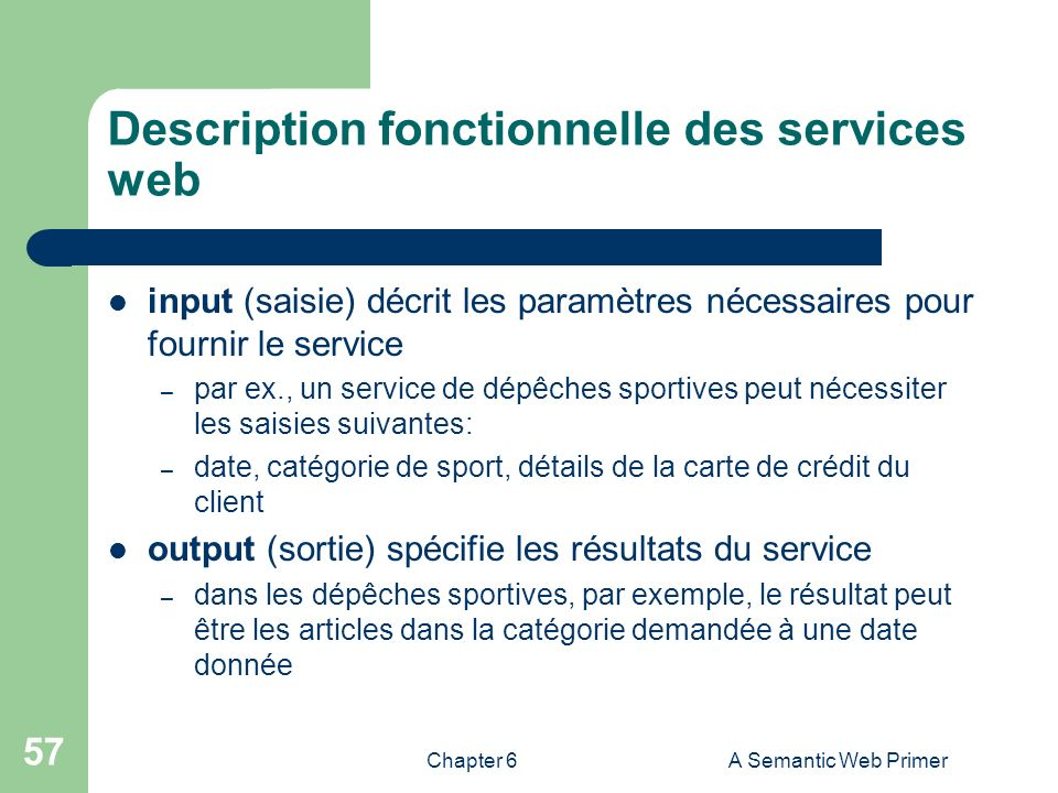 Description fonctionnelle des services web