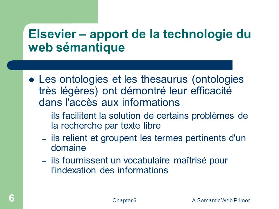 Elsevier – apport de la technologie du web sémantique
