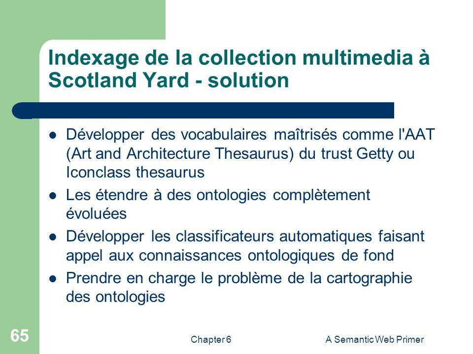 Indexage de la collection multimedia à Scotland Yard - solution