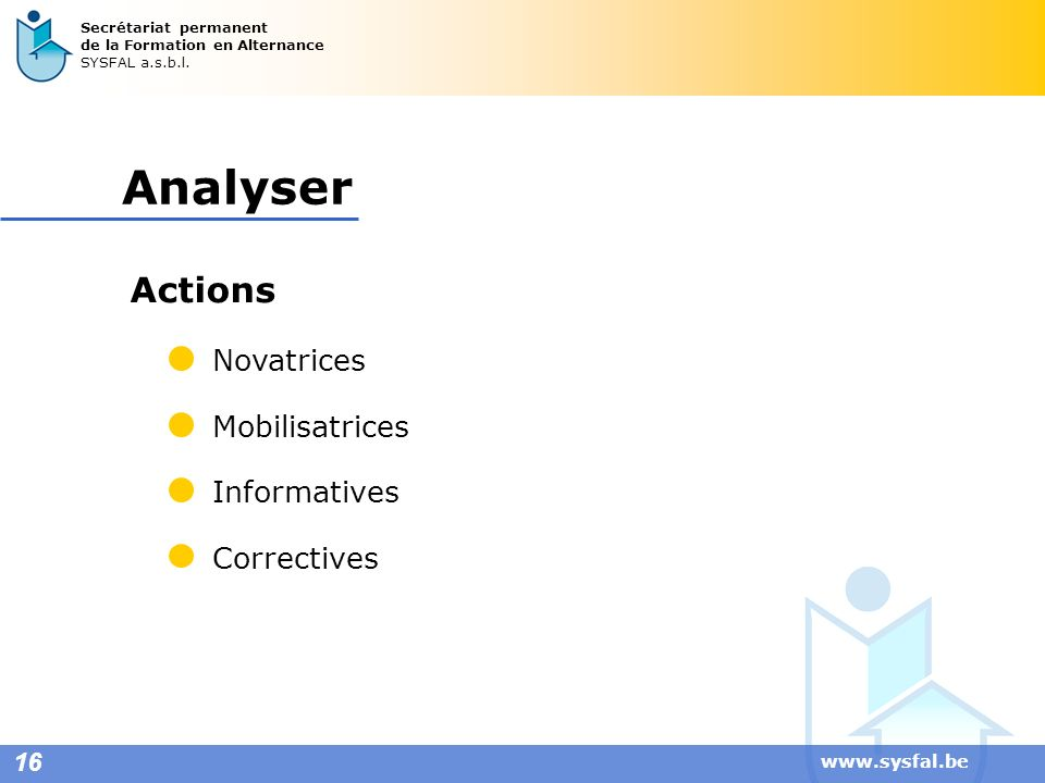 Analyser Actions Novatrices Mobilisatrices Informatives Correctives 16