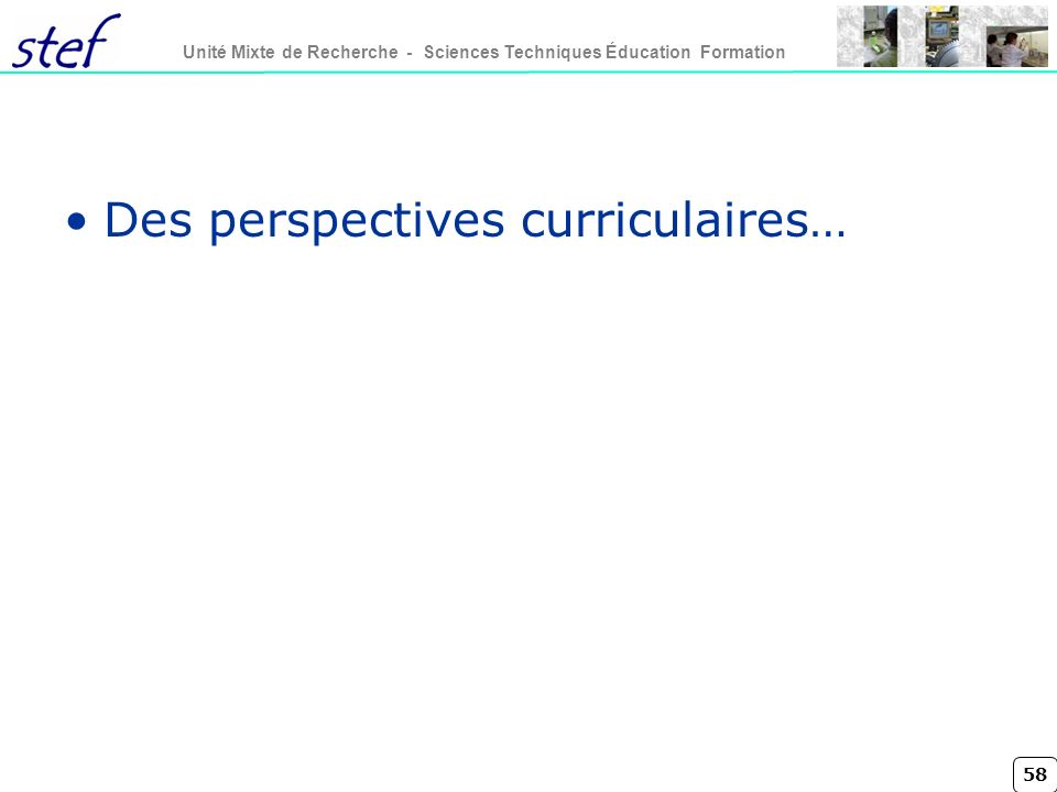 Des perspectives curriculaires…