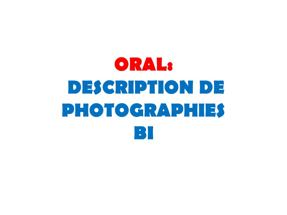 ORAL: DESCRIPTION DE PHOTOGRAPHIES BI