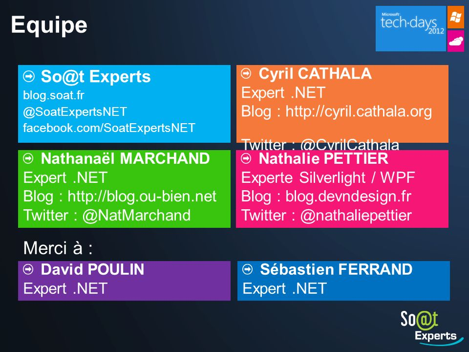 Equipe Merci à : So@t Experts Cyril CATHALA Expert .NET