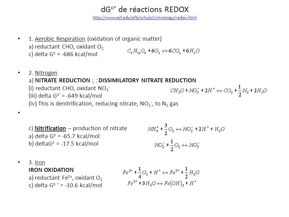 dGo' de réactions REDOX http://www.esf.edu/efb/schulz/Limnology/redox.html