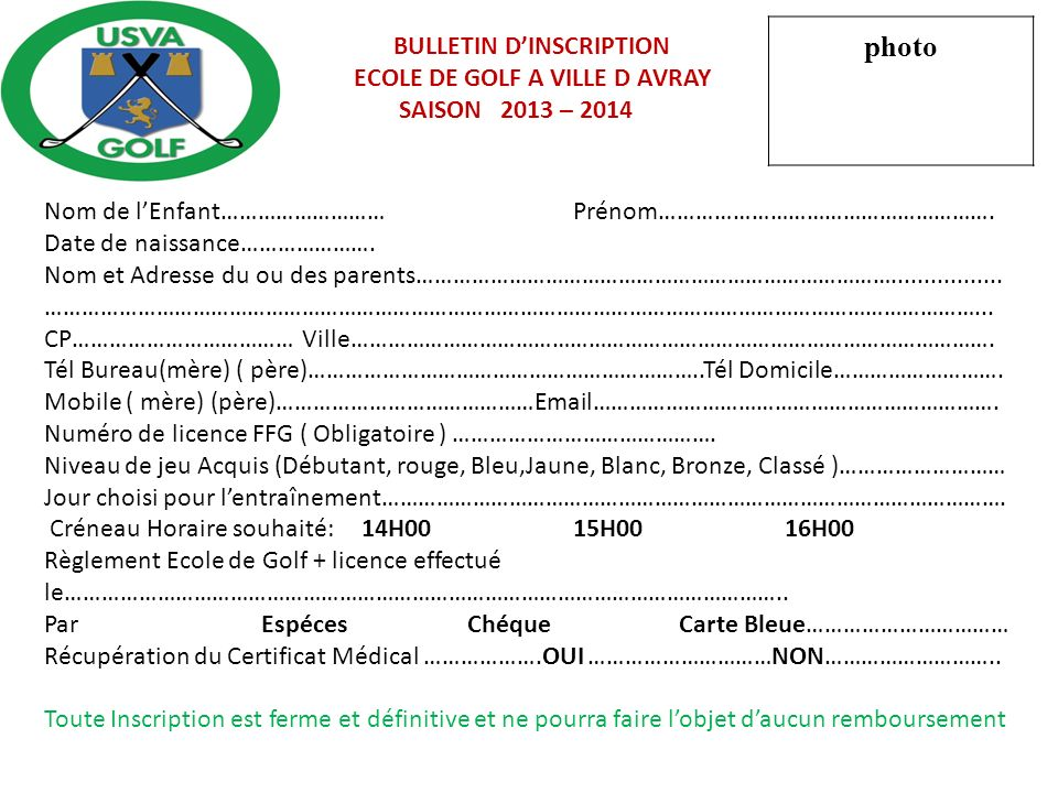 photo BULLETIN D'INSCRIPTION ECOLE DE GOLF A VILLE D AVRAY