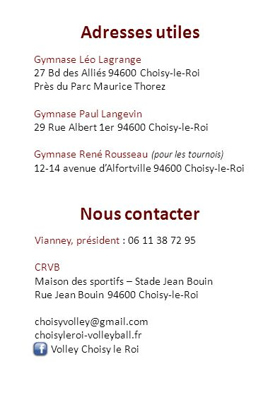 Adresses utiles Nous contacter