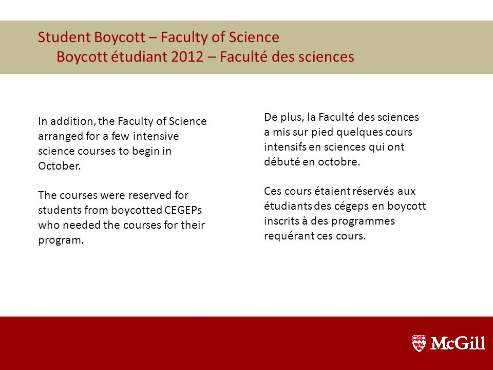 Student Boycott – Faculty of Science