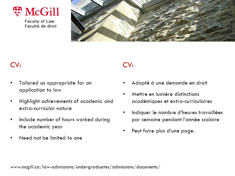 CV: CV: Tailored as appropriate for an application to law