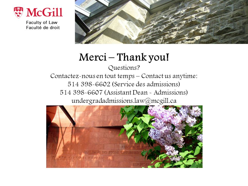 Merci – Thank you. Questions