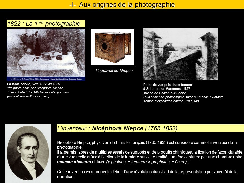 -I- Aux origines de la photographie