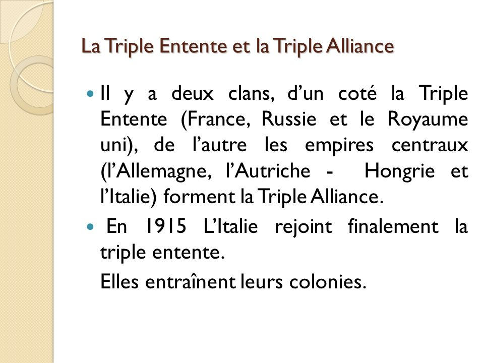 La Triple Entente et la Triple Alliance