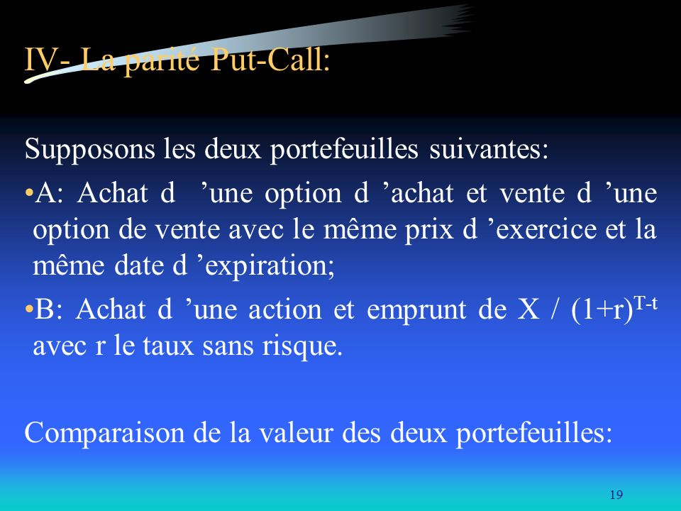 IV- La parité Put-Call: