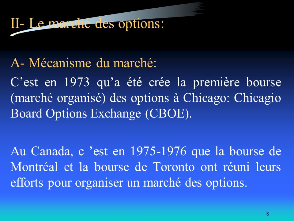 II- Le marché des options: