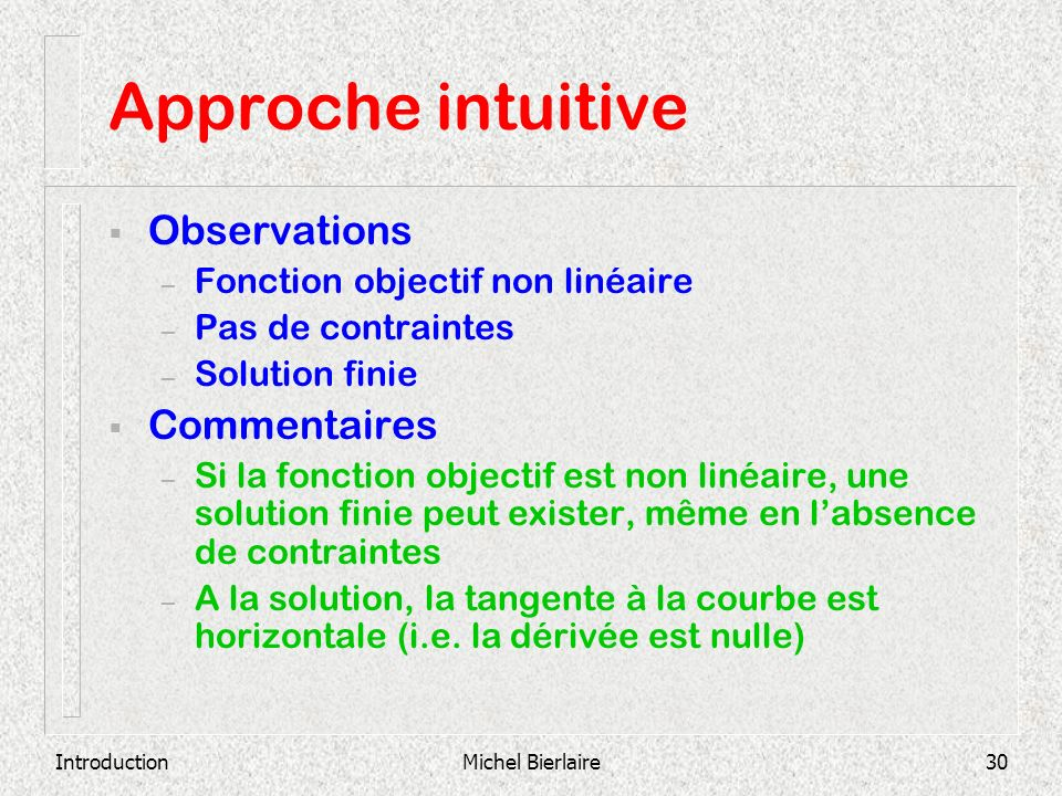 Approche intuitive Observations Commentaires