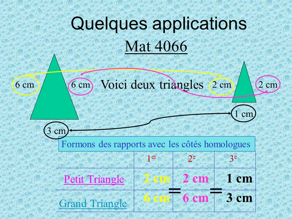 = = Quelques applications Mat 4066 Voici deux triangles 2 cm 2 cm 1 cm