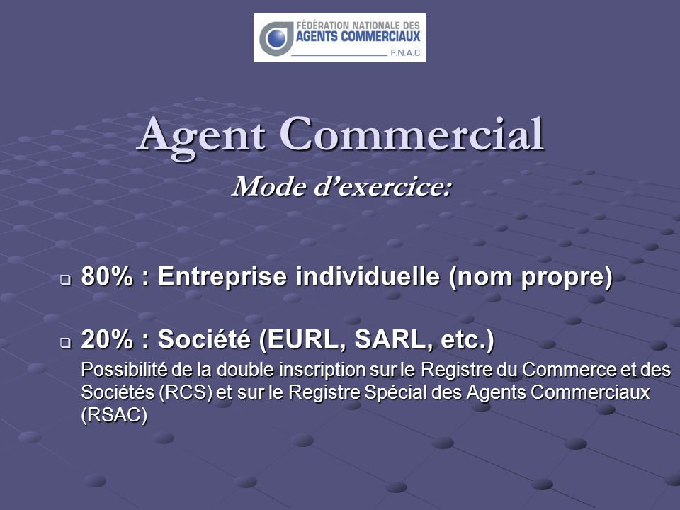 Agent Commercial Mode d'exercice: