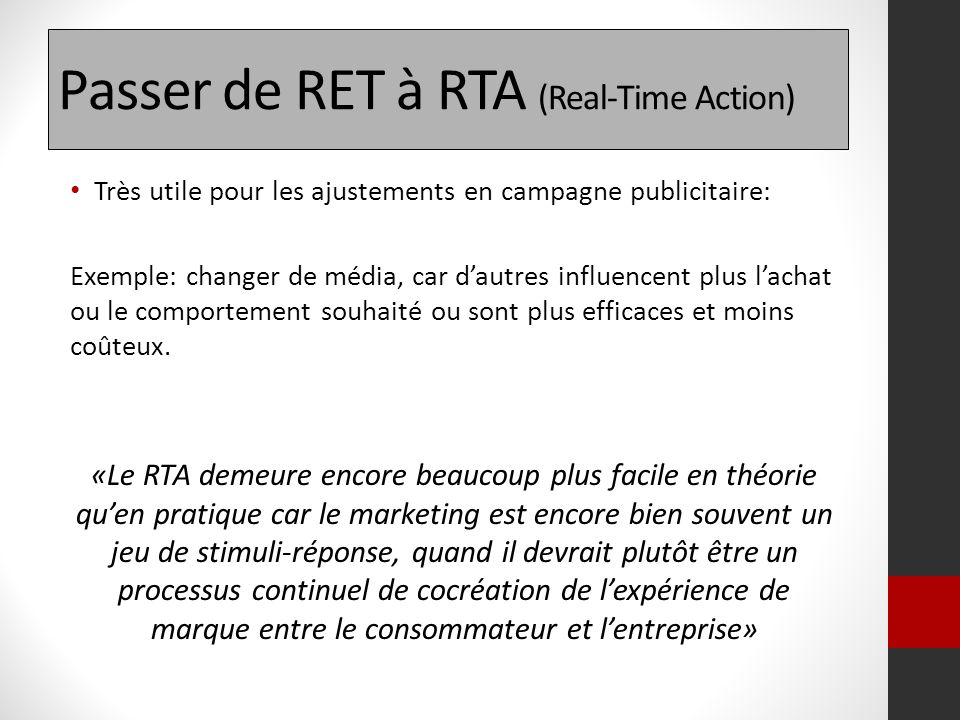 Passer de RET à RTA (Real-Time Action)