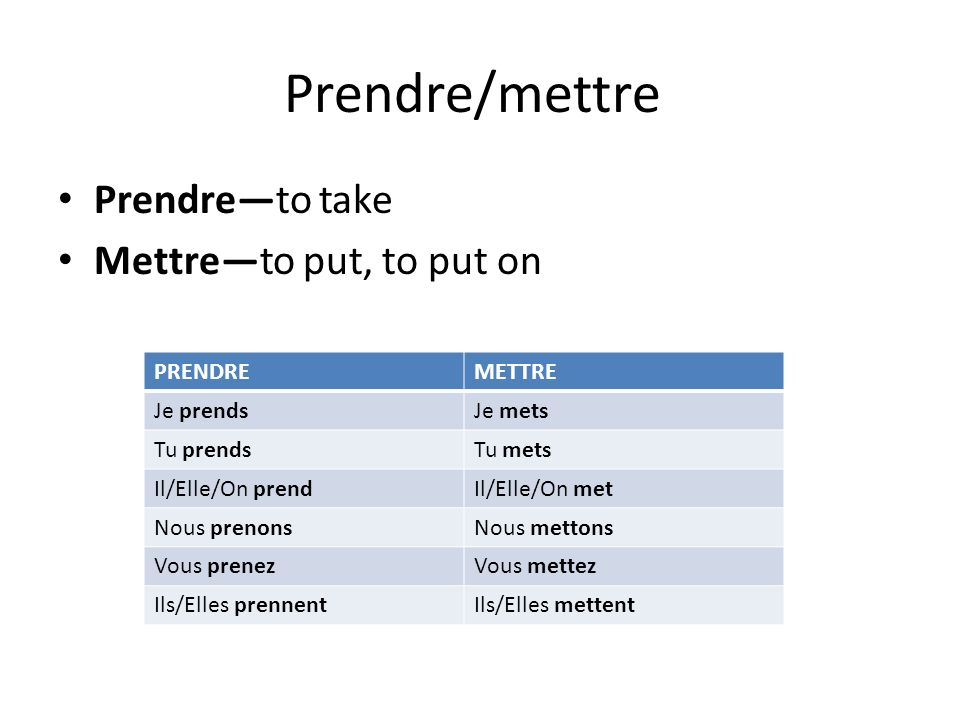 Prendre/mettre Prendre—to take Mettre—to put, to put on PRENDRE METTRE