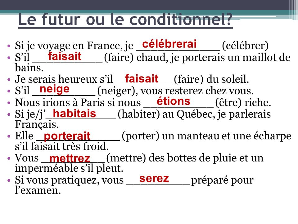 Le futur ou le conditionnel