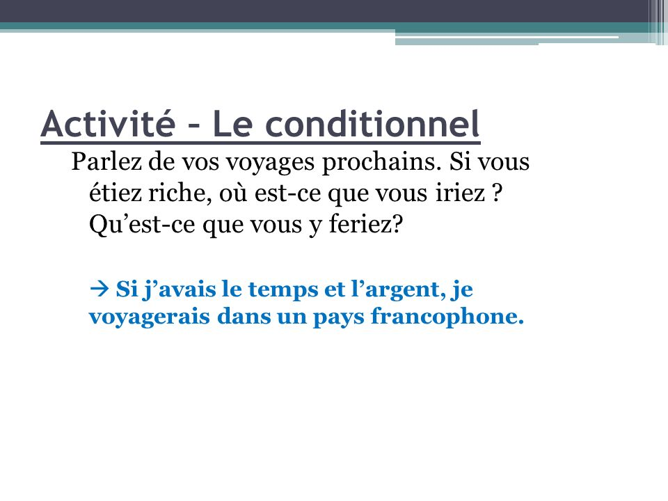 Activité – Le conditionnel