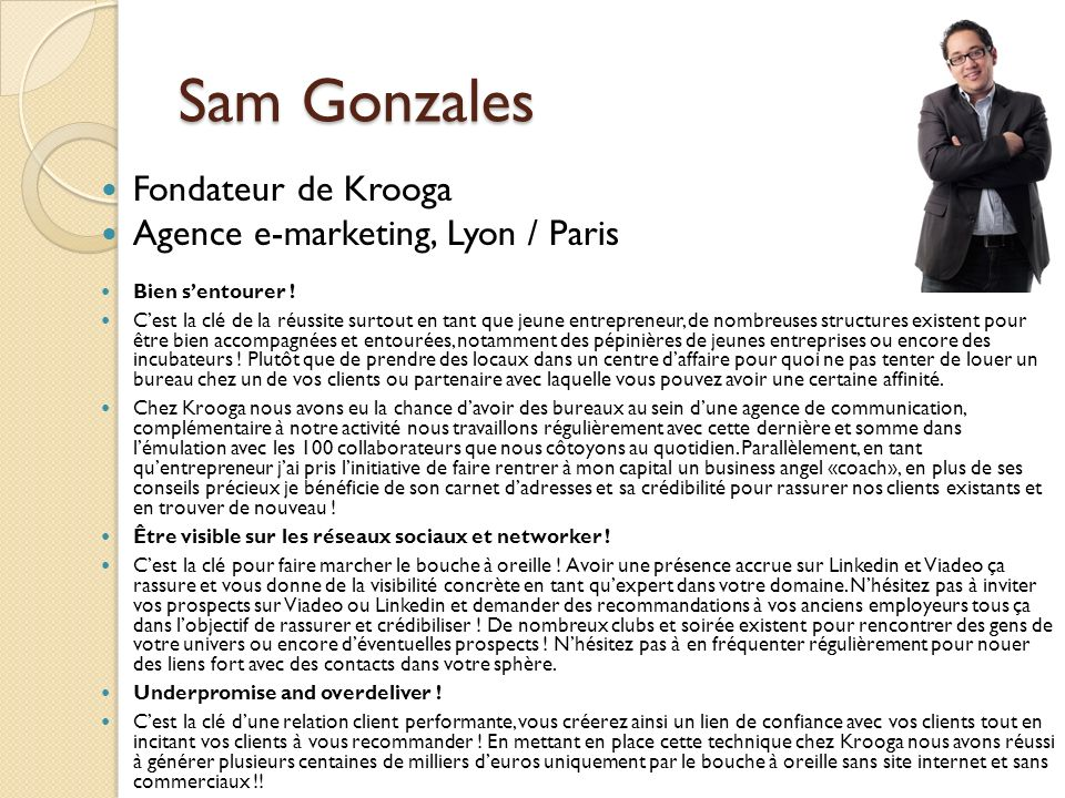 Sam Gonzales Fondateur de Krooga Agence e-marketing, Lyon / Paris