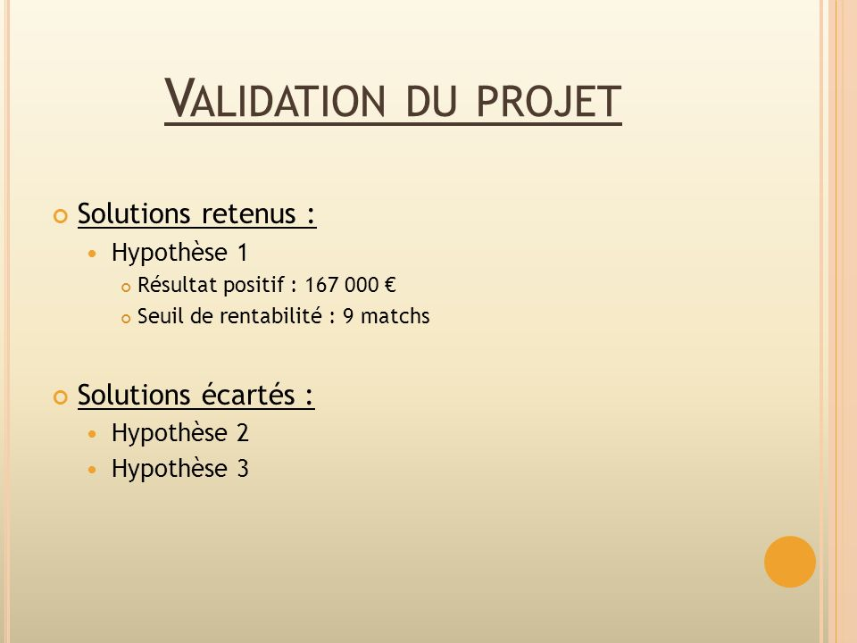Validation du projet Solutions retenus : Solutions écartés :