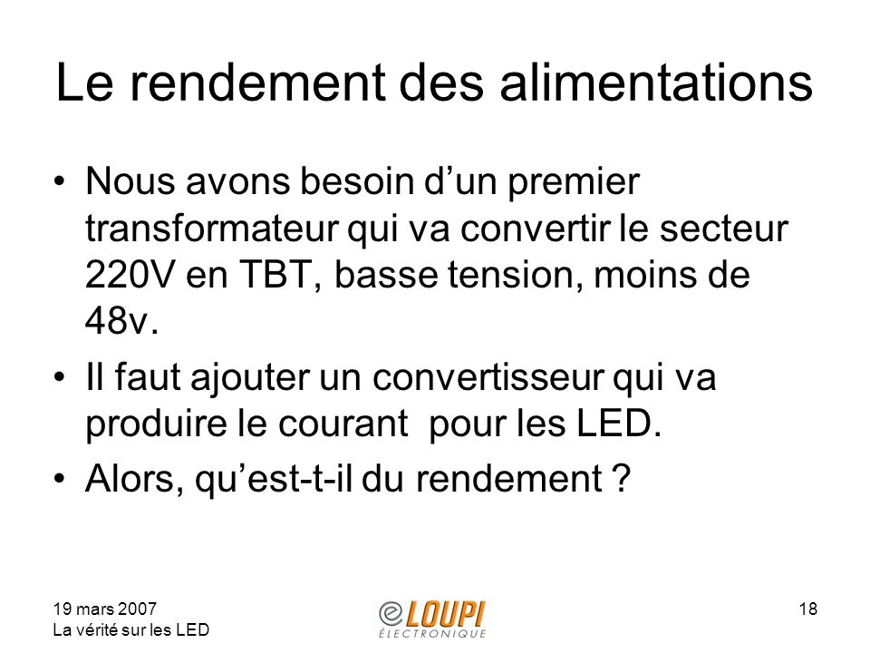 Le rendement des alimentations