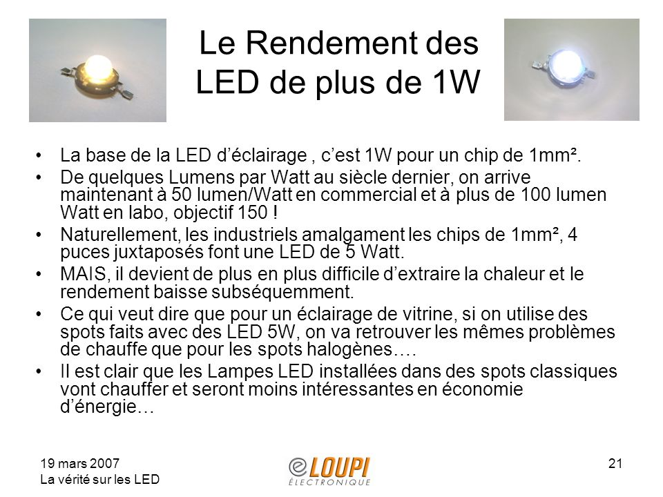 Le Rendement des LED de plus de 1W