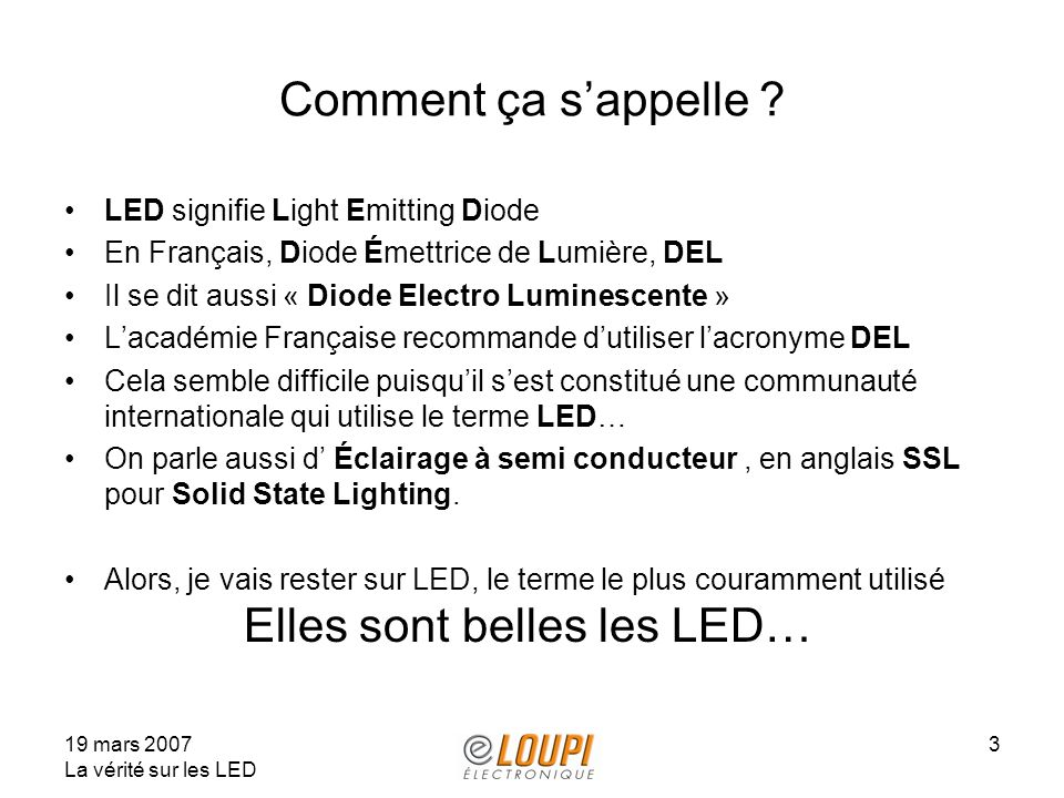 Comment ça s'appelle LED signifie Light Emitting Diode