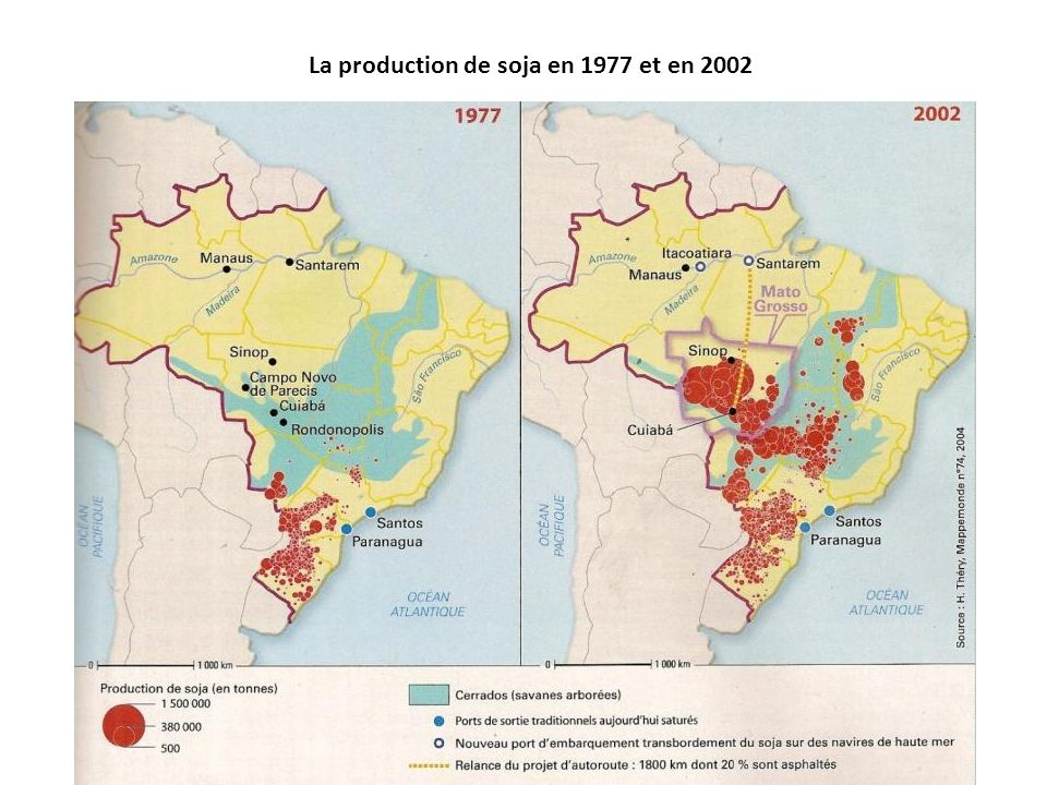 La production de soja en 1977 et en 2002