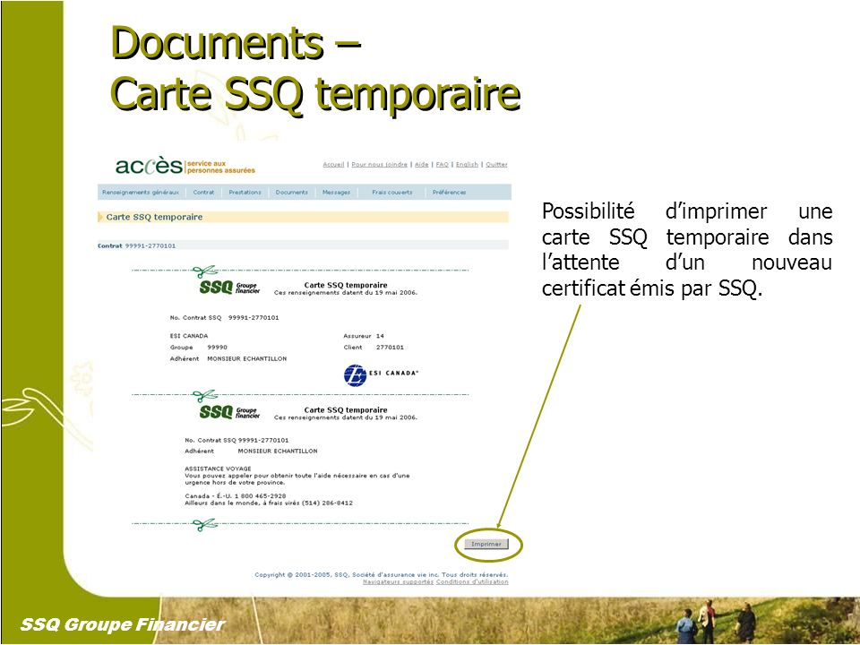 Documents – Carte SSQ temporaire