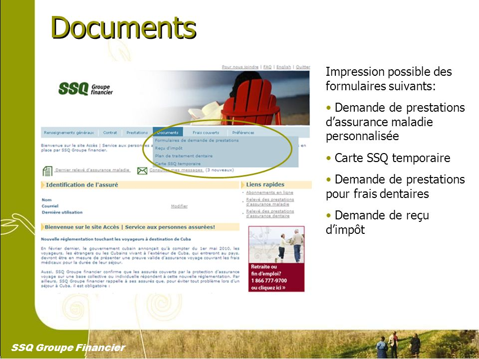 Documents Impression possible des formulaires suivants: