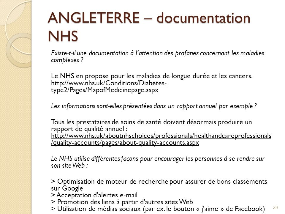 ANGLETERRE – documentation NHS
