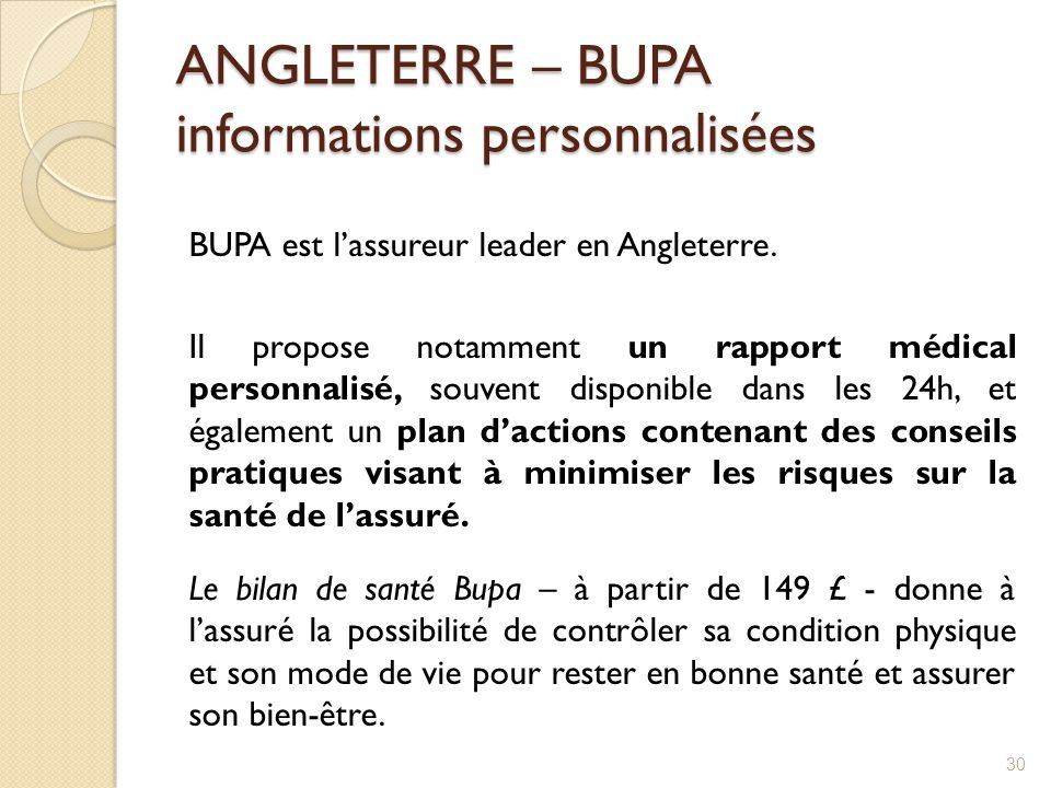ANGLETERRE – BUPA informations personnalisées