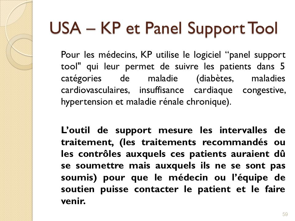 USA – KP et Panel Support Tool