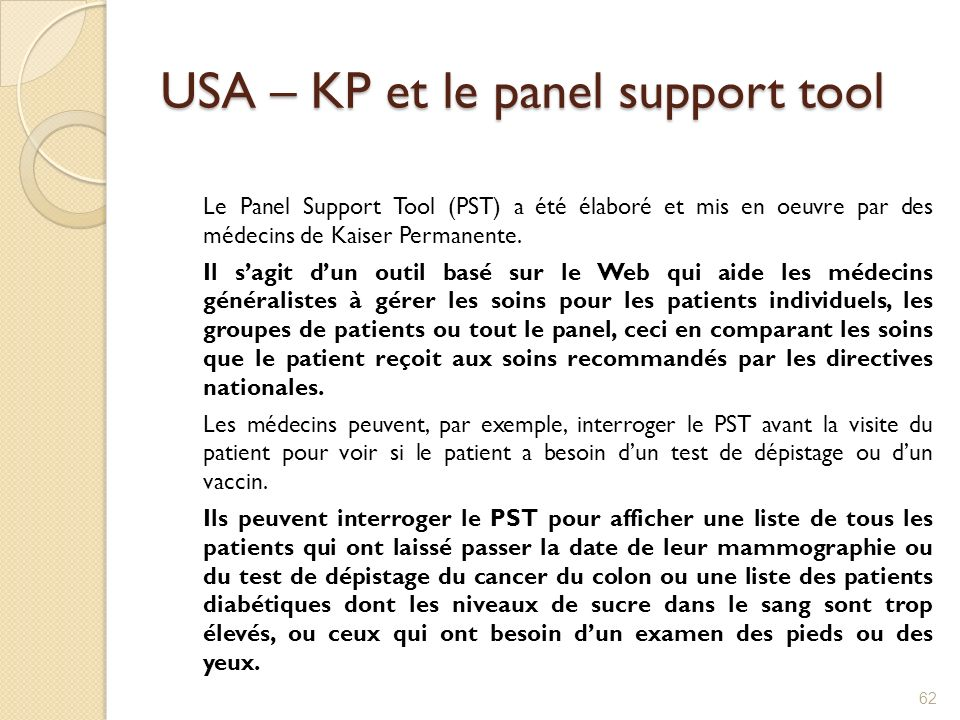 USA – KP et le panel support tool