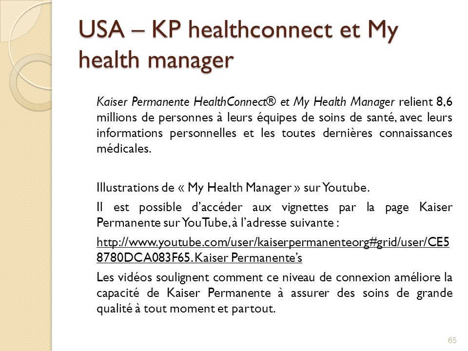 USA – KP healthconnect et My health manager