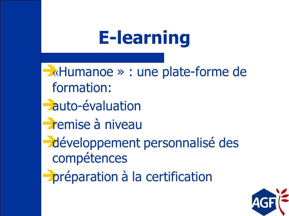 E-learning «Humanoe » : une plate-forme de formation: auto-évaluation