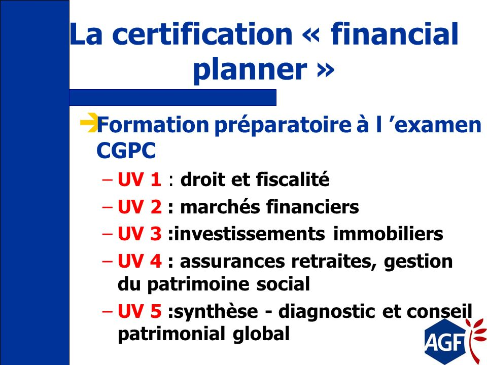 La certification « financial planner »